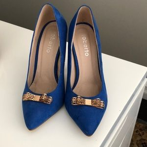 Roberto Blue Suede and Gold Bow Heels